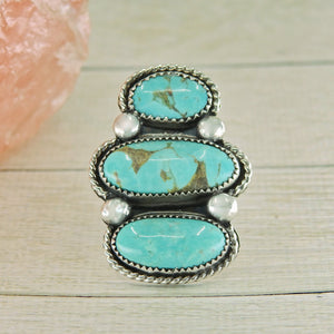 Triple Tyrone Turquoise Ring - Size 7 1/2 - Sterling Silver - Gem & Tonik