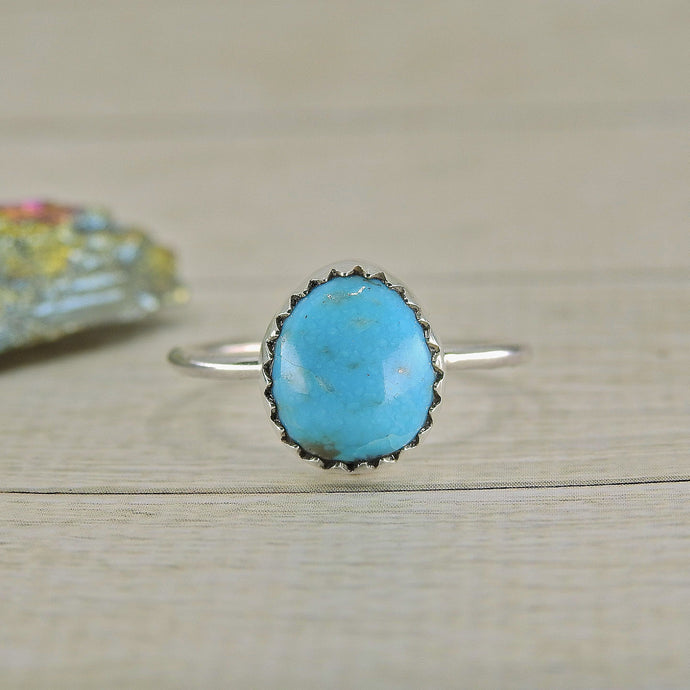 Blue Morenci Turquoise Ring - Size 6 - Sterling Silver - Gem & Tonik