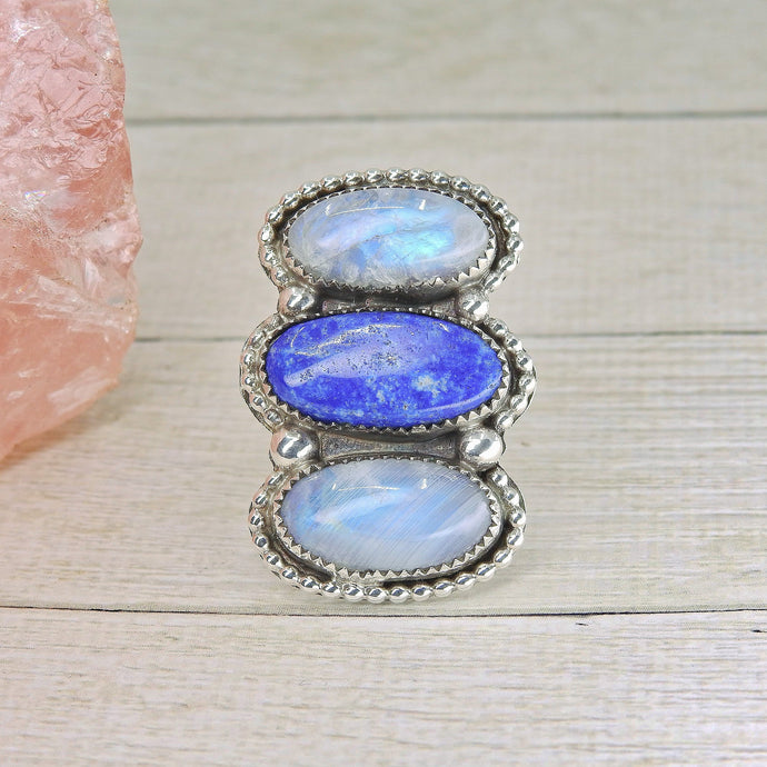 Lapis Lazuli & Moonstone Triple Stone Ring - Size 7.5 - Sterling Silver - Gem & Tonik