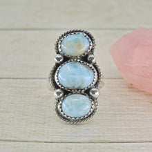 Load image into Gallery viewer, Larimar Triple Stone Ring - Size 5 1/2 - Gem & Tonik