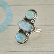 Load image into Gallery viewer, Larimar Triple Stone Ring - Size 8 1/2 - Sterling Silver - Gem & Tonik