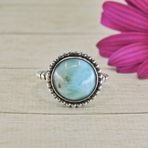 Round Larimar Ring - Size 9 - Gem & Tonik