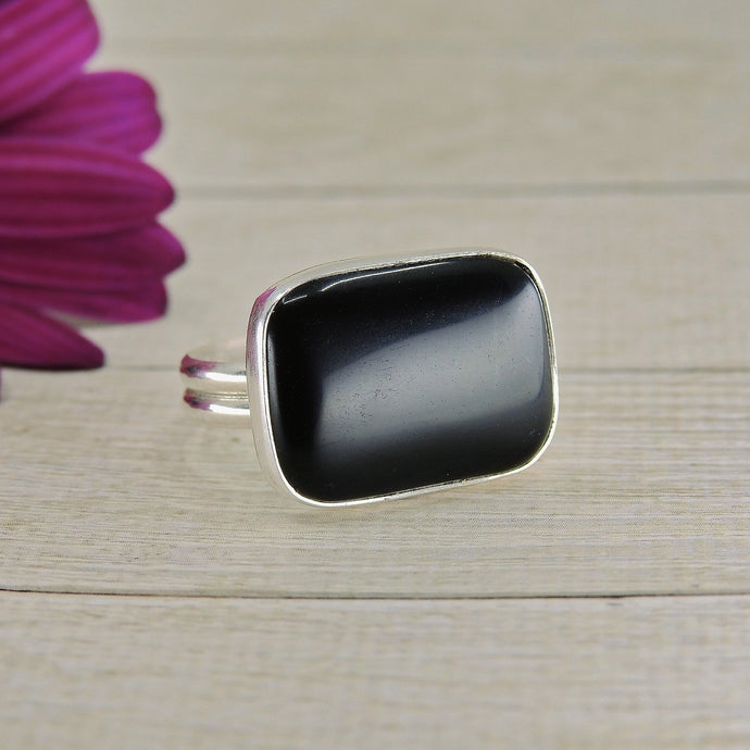 Rectangular Black Onyx Ring - Size 10 - Sterling Silver - Gem & Tonik