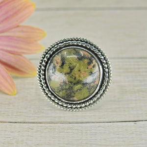 Round Unakite Ring - Size 11 - Sterling Silver - Gem & Tonik