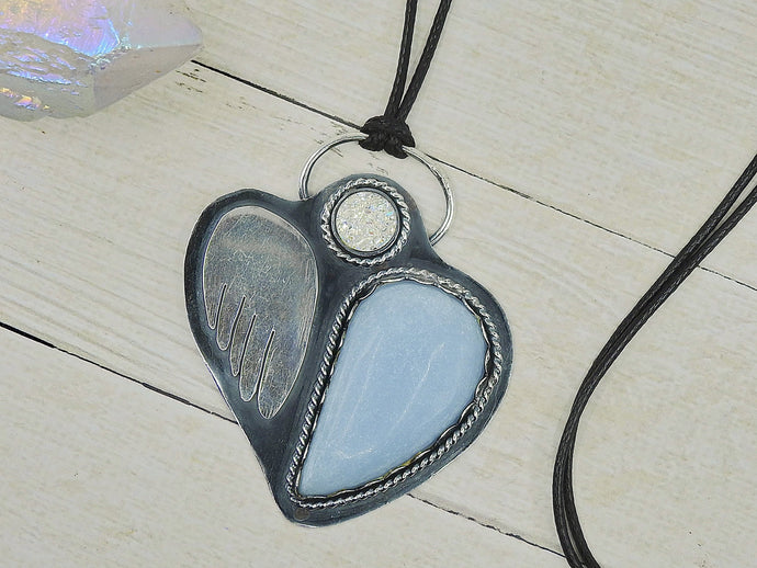 The Light Guardian - Angelite & Angel Aura Quartz Pendant - Sterling Silver - Gem & Tonik