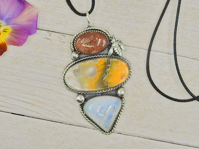 The Beekeeper - Bumblebee Jasper, Sunstone and Moonstone Pendant - Sterling Silver - Gem & Tonik