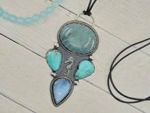 Load image into Gallery viewer, The Jewels of Atlantis - Aquamarine, Moonstone & Nacozari Turquoise Pendant - Sterling Silver - Gem & Tonik