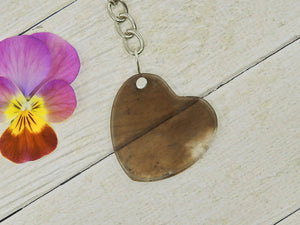 Smoky Quartz Heart Keyring - Sterling Silver & Stainless Steel - Gem & Tonik