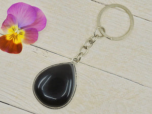 Black Agate Keychain - Mixed Metal - Gem & Tonik