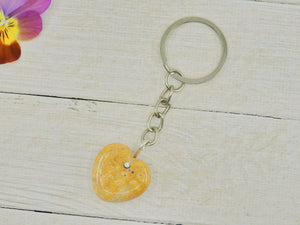 Fossilised Coral Heart Keyring - Mixed Metal - Gem & Tonik