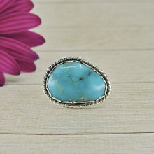 Load image into Gallery viewer, Large Blue Nacozari Turquoise Ring - Size 7 - Sterling Silver - Gem & Tonik