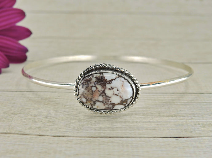 Wild Horse Magnesite Bangle - Sterling Silver - Size L - Gem & Tonik