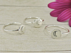 Molten Silver Moon Ring - Sterling Silver - Made to Order - Gem & Tonik