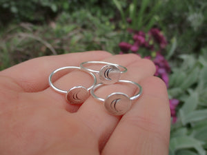 Molten Silver Moon Ring - Made to Order - Gem & Tonik