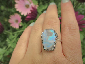 Rainbow Moonstone Coffin Ring - Size 8 - Gem & Tonik