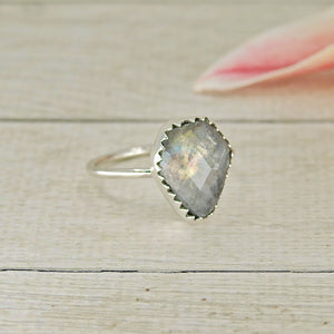Faceted Moonstone Coffin Stacker - Size 5 1/2 - Gem & Tonik
