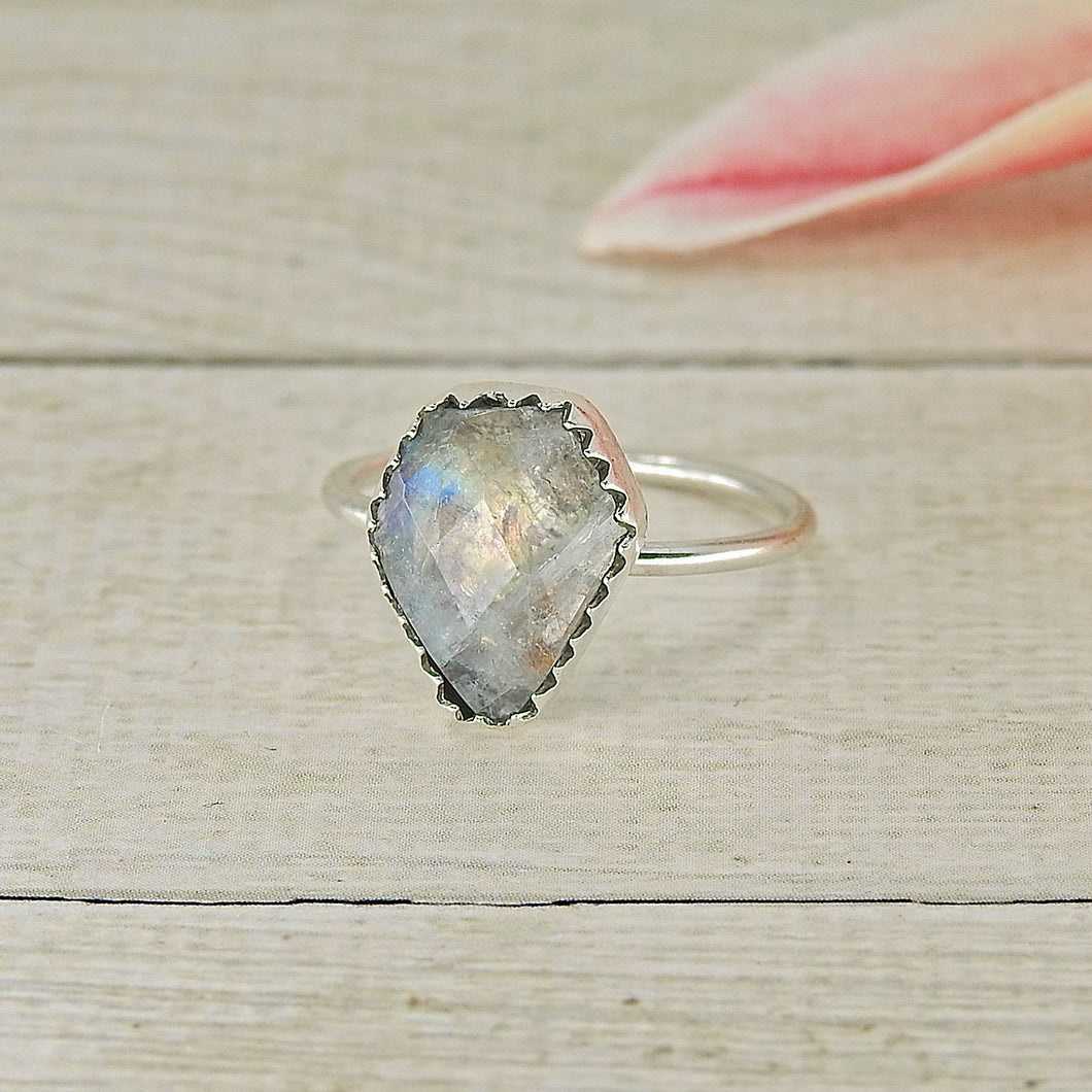 Faceted Moonstone Coffin Stacker - Size 5.5 - Sterling Silver - Gem & Tonik Halloween 2019 Collection - Gem & Tonik