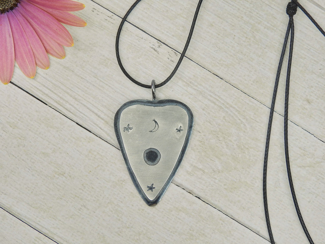 Moon and Stars Planchette Pendant - Sterling Silver -  Gem & Tonik Halloween 2019 Collection - Gem & Tonik