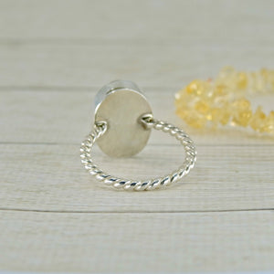 Golden Rutilated Quartz Ring - Size 6 - Sterling Silver - Gem & Tonik
