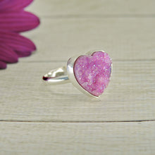 Load image into Gallery viewer, Rose Aura Quartz Heart Ring - Size 6 - Sterling Silver - Gem & Tonik