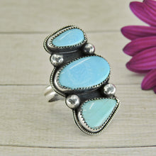 Load image into Gallery viewer, Turquoise Mountain Triple Stone Ring - Size 9 - Sterling Silver - Gem & Tonik