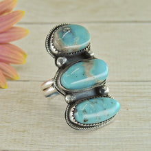 Load image into Gallery viewer, Nacozari Turquoise Triple Stone Ring - Size 7.25 - Sterling Silver - Gem & Tonik