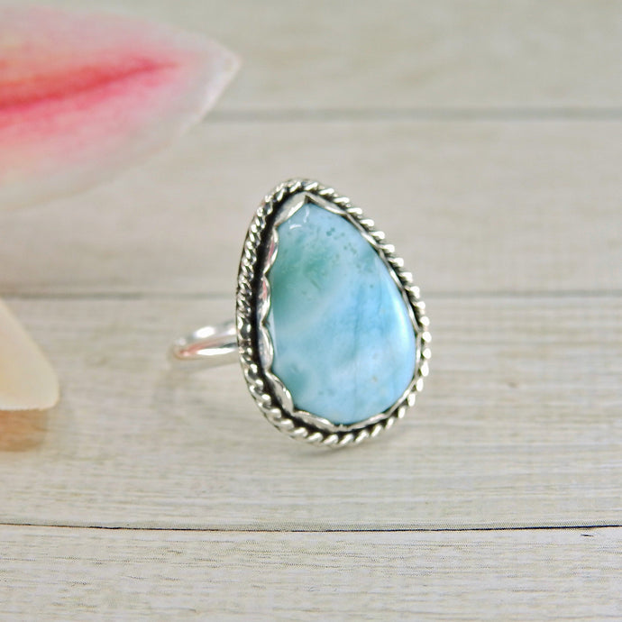 Pear Shaped Larimar Ring - Size 7 3/4 - Sterling Silver - Gem & Tonik