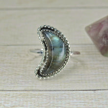 Load image into Gallery viewer, Custom Labradorite Crescent Moon Ring - Made to Order - Gem & Tonik