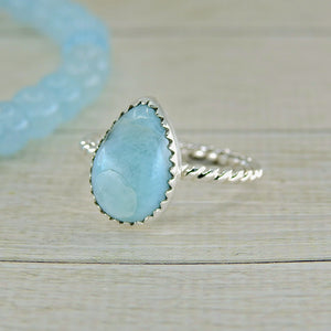 Pear Shaped Larimar Ring - Size 6 1/2 - Sterling Silver - Gem & Tonik