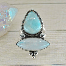 Load image into Gallery viewer, Larimar & Moonstone Ring - Size 8 3/4 - Sterling Silver - Gem & Tonik