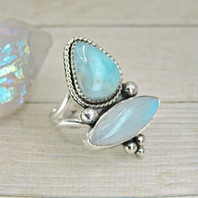 Load image into Gallery viewer, Larimar & Moonstone Ring - Size 8 3/4 - Gem & Tonik
