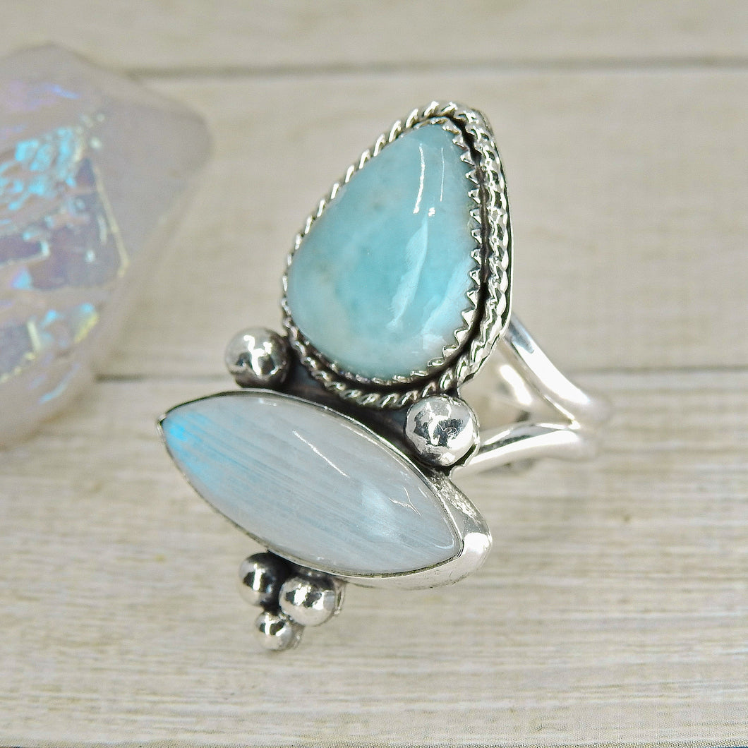 Larimar & Moonstone Ring - Size 8 3/4 - Sterling Silver - Gem & Tonik