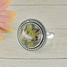 Load image into Gallery viewer, Round Unakite Ring - Size 11 - Sterling Silver - Gem & Tonik