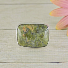Load image into Gallery viewer, Rectangular Unakite Ring - Size 8 3/4 - Sterling Silver - Gem & Tonik