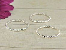 Load image into Gallery viewer, 2 x Twist Band Stacking Rings - Sterling Silver - Gem & Tonik