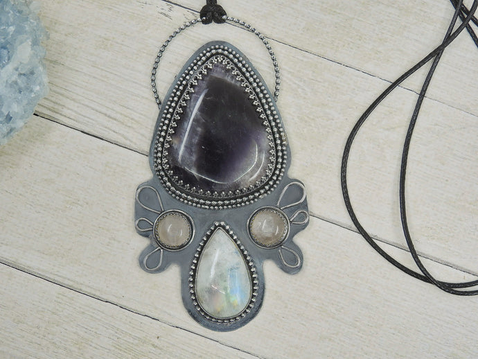 Amethyst, Moonstone & Rose Quartz Pendant - Protection Talisman - Sterling Silver - Gem & Tonik