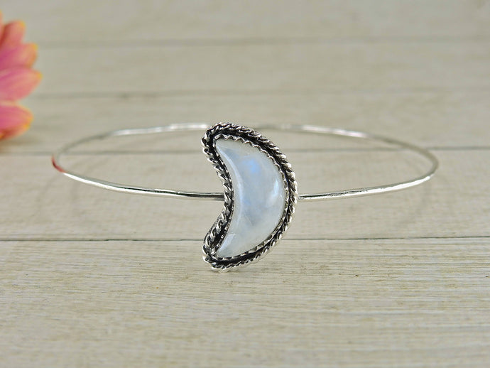 Crescent Moon Moonstone Bangle - Sterling Silver - Size M - Gem & Tonik
