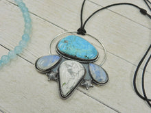 Load image into Gallery viewer, The Wave Tamer - Morenci Turquoise, Blue Moonstone & White Howlite Pendant - Sterling Silver - Gem & Tonik