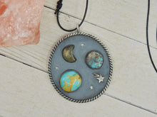 Load image into Gallery viewer, Lunam Candentis - Royston Turquoise, Lemon Quartz & Kingman Turquoise Pendant - Gem & Tonik
