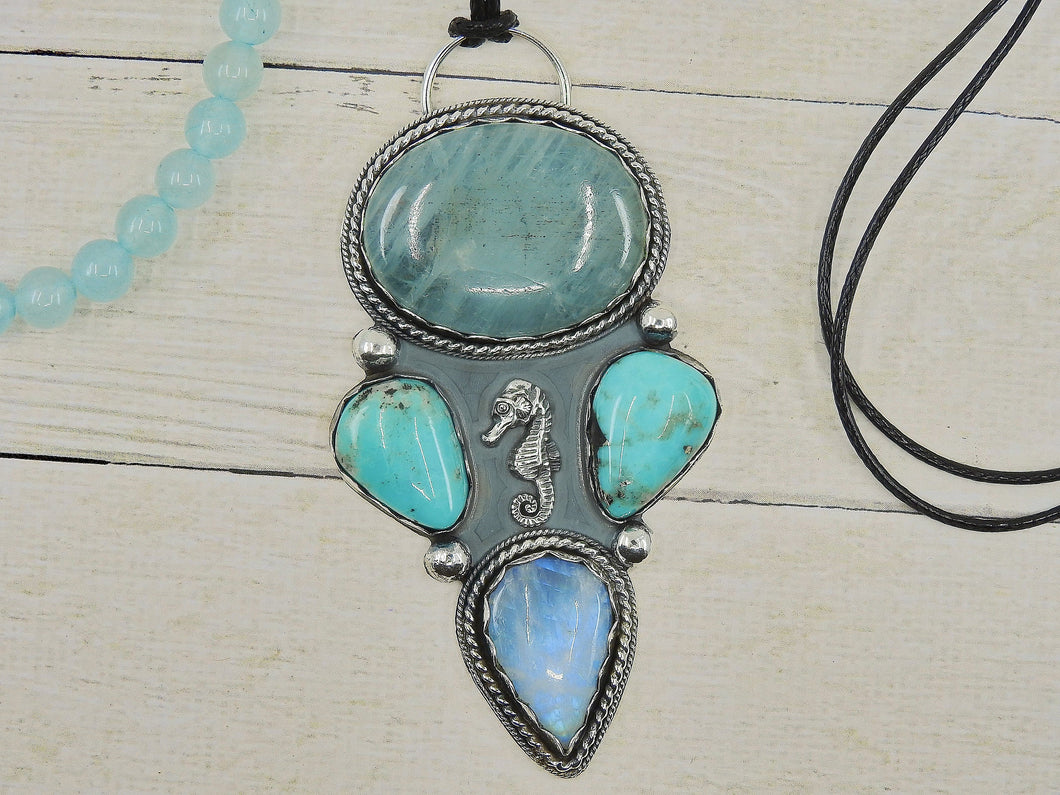 The Jewels of Atlantis - Aquamarine, Moonstone & Nacozari Turquoise Pendant - Sterling Silver - Gem & Tonik