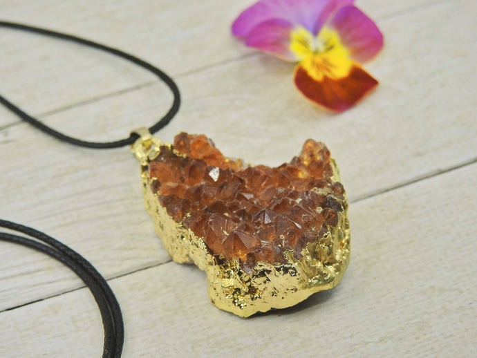 Citrine Geode Pendant - Mixed Metal - Gem & Tonik