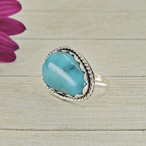 Large Blue Nacozari Turquoise Ring - Size 7 - Sterling Silver - Gem & Tonik