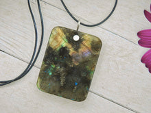 Load image into Gallery viewer, Rectangular Labradorite Pendant - Gem & Tonik
