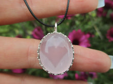 Load image into Gallery viewer, Oval Rose Quartz Pendant - Sterling Silver - Gem & Tonik