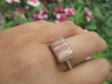 Load image into Gallery viewer, Rectangular Rhodochrosite Ring - Size 8 1/2 - Sterling Silver - Gem & Tonik