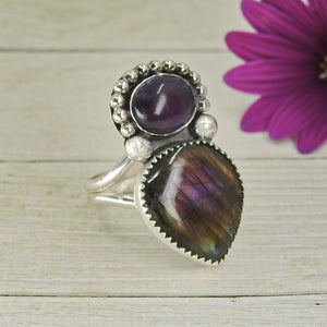 Purple Labradorite & Amethyst Ring - Size 10 1/2 - Gem & Tonik