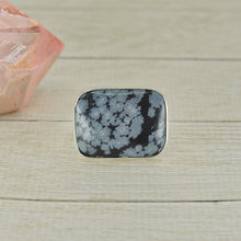 Load image into Gallery viewer, Rectangular Snowflake Obsidian Ring - Size 8 - Sterling Silver - Gem & Tonik