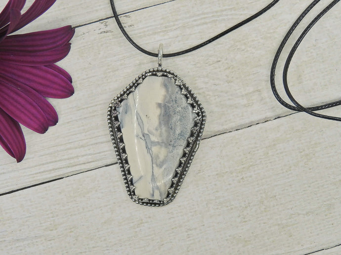 Howlite Coffin Pendant - Sterling Silver - Gem & Tonik
