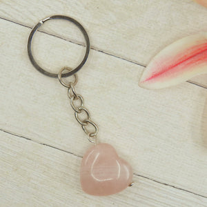 Rose Quartz Heart Keyring - Gem & Tonik