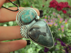 The Forest Dweller - Nacozari Turquoise & Moss Agate Pendant - Sterling Silver - Gem & Tonik